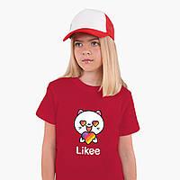 Детская футболка для девочек Лайк Котик (Likee Cat) (25186-1036) Красный, фото 1