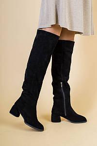 Женские черные замшевые ботфорты 36