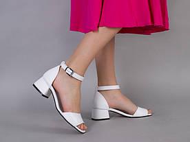 Босоножки женские кожаные белые с закрытой пяткой и открытым носком
