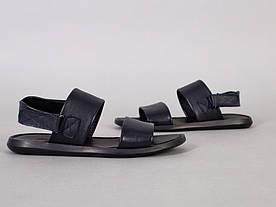 Сандалии мужские кожаные синего цвета на липучке