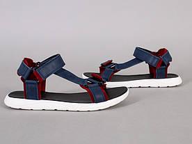Сандалии мужские кожаные синие с красными вставками