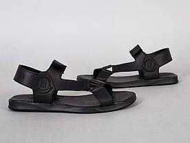 Сандалии мужские кожаные черные на липучке