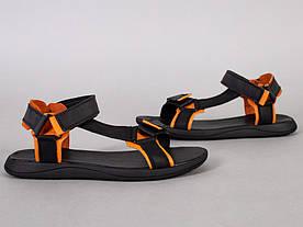Сандалі чоловічі шкіряні чорні з помаранчевими вставками