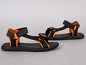 Сандалии мужские кожаные черные с оранжевыми вставками