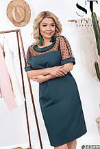 Нарядное платье женское Софт и сетка с напылением флок Размер 48 50 52 54 56 58 60 62 Разные цвета