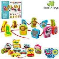 Деревянная шнуровка транспорт,шнуровка транспорт,шнурівка,шнуровка веселые рисунки Limo toy md1263, фото 1