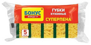 Губка кухонная Бонус суперпена крупнопористая 5шт (4823071627923)