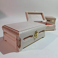 Деревянная заготовка для декупажа шкатулка 16х10х6 см с бархатом