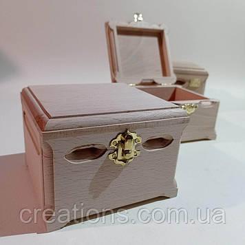 Дерев'яна заготовка для декупажу скринька 12х12х9 см з оксамитом