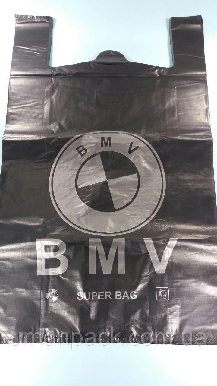"""Пакет поліетиленовий тип майка БМВ 43х75 """"БМВ"""" Київ чорний (50 шт)"""