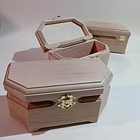 Деревянная заготовка для декупажа шкатулка 20х10х9 см с бархатом