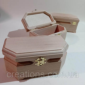 Дерев'яна заготовка для декупажу скринька 20х10х9 см з оксамитом