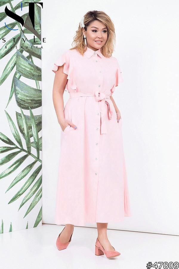 Красиве жіноче плаття на гудзиках Тканина льон Розмір 48 50 52 54