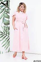 Красивое женское платье на пуговицах Ткань лен Размер 48 50 52 54