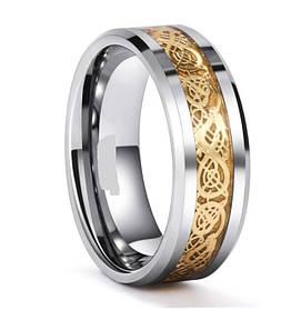 Кольцо с рисунком Дракона 8 мм золотого цвета. Размеры: 21-24. Стальные кольца мужские
