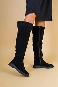 Ботфорты женские замшевые черные на низком ходу зимние