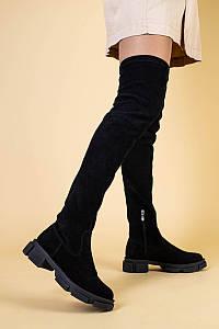 Ботфорты женские замшевые черные на низком ходу, деми