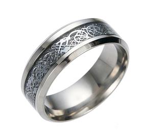 Кольцо с рисунком Дракона 8 мм серебряного цвета. Размеры: 16-23. Стальные кольца мужские