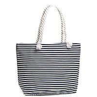 Синяя женская текстильная сумка в полоску