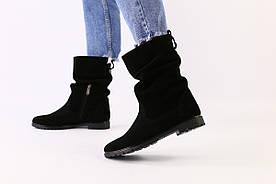 Зимові замшеві чорні чоботи на зиму 36
