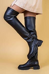 Ботфорты женские кожаные черные на низком ходу, зимние