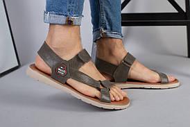 Чоловічі шкіряні сандалі кольору хакі на липучці