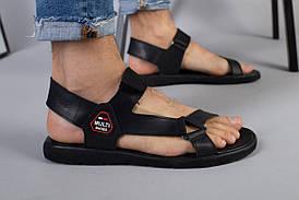 Чоловічі шкіряні чорні сандалі на липучці