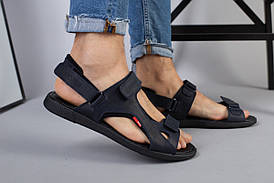 Чоловічі сині шкіряні сандалі