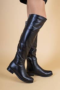 Черные кожаные демисезонные ботфорты, 36