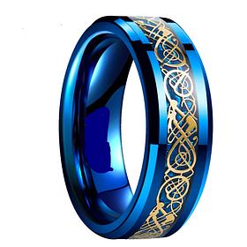 Синее кольцо с рисунком Дракона 8 мм. Размеры: 20-23. мужские кольца, кольца из ювелирной стали
