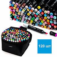 Скетч маркеры набор для рисования Touch Sketch 120 шт двусторонние фломастеры черный корпус