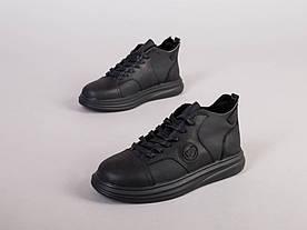 Кроссовки мужские кожаные черные зимние 40, 26.5