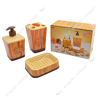 """Набор для ванной """"Дерево"""" (мыльница, дозатор для мыла, стакан для зубныз щеток), фоторисунок, Турция"""