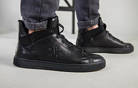 Чоловічі чорні шкіряні кросівки на байку