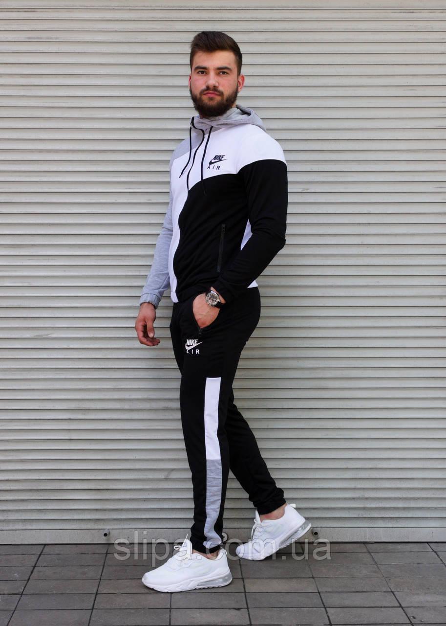 Мужской спортивный костюм Nike с капюшоном, трёхцветный