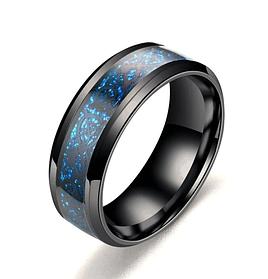 Синее кольцо для мужчин с рисунком Дракона 8 мм. Размеры: 17-23. Мужские кольца