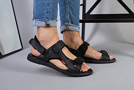 Чоловічі чорні шкіряні сандалі