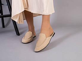 Мюли женские замшевые бежевого цвета 1419254039