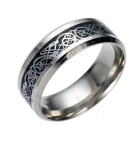 Женское кольцо с рисунком Дракона 8 мм. Размеры: 17-24. Кольца женские черные из медицинской стали