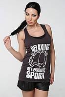 ТМ Ghazel Майка женская боксерка серый кот Ghazel