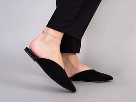 Мюли жіночі замшеві чорного кольору