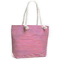Розовая летняя женская сумка в полоску