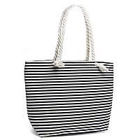 Женская черная пляжная сумка торба в полоску