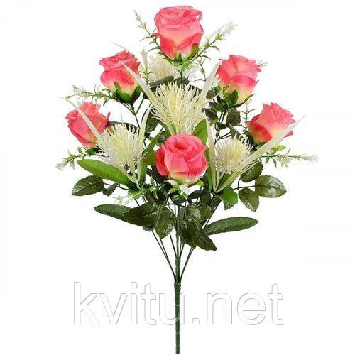 Искусственные цветы букет роз Фэнтези, 63см