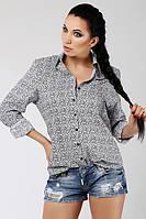 ТМ Ghazel Рубашка женская Дольче коричневые цветы Ghazel