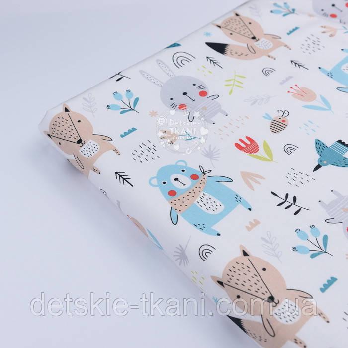"""Отрез сатина """"Бирюзовые мишки с бежевой косынкой, лисички и зайчики"""" фон белый, размер 145*160"""