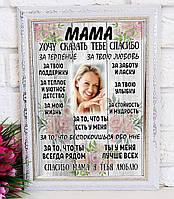 Постер в раме «Мама, хочу сказать тебе СПАСИБО». Подарок для мамы.