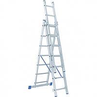 Лестница 3 х 7 ступеней алюминиевая трехсекционная Сибртех 97817