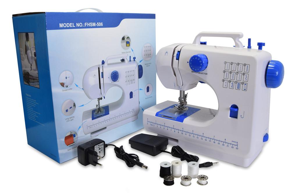 УЦЕНКА! Портативная универсальная швейная машинка, FHSM 506, маленькая электрическая, Синяя (ST)