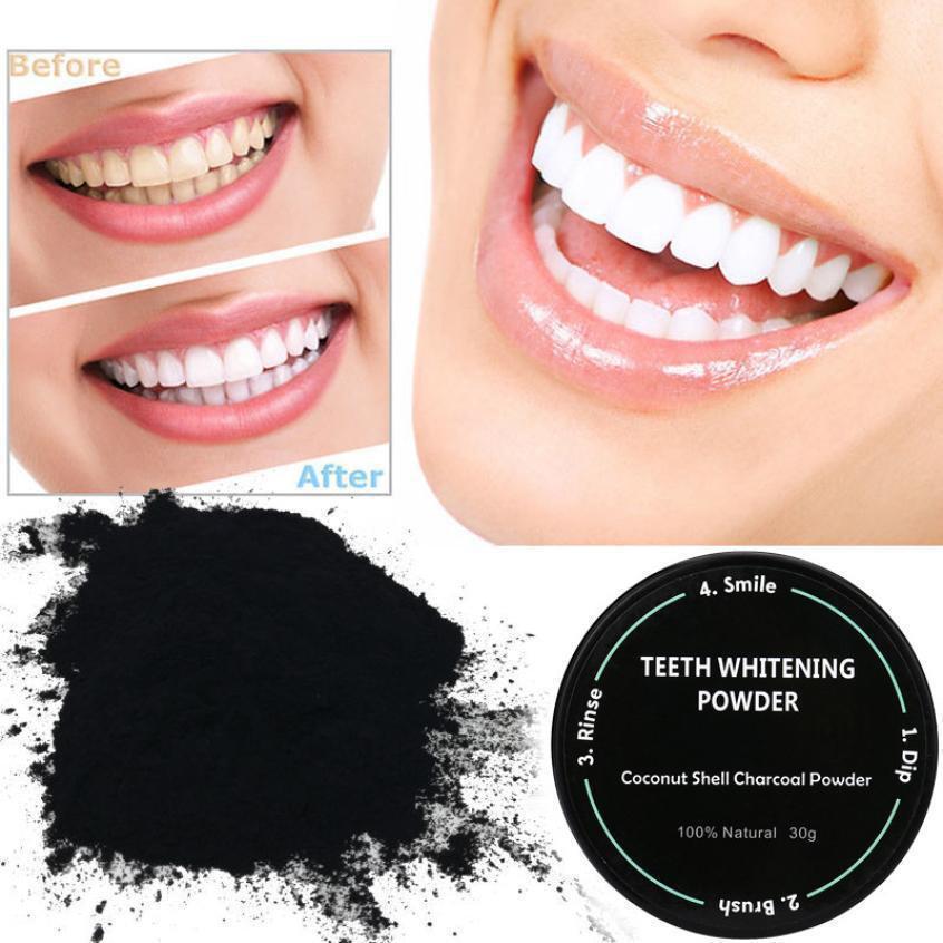 Чорний відбілюючий порошок для зубів Miracle Teeth Whitener кокосовый порошок для відбілювання зубів